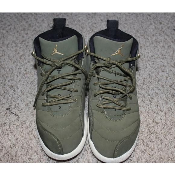 info for b494f 0d943 Boys Air Jordan Retro 12 -Kids Size 3Y- Olive